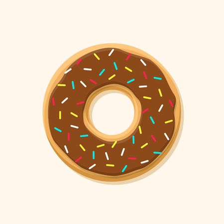 sprinkle: Chocolate sweet brown donut isolated on background. Yummy cookie donut food. Candy decoration color donut with topping. Glazed pastry delicious snack, eat candy. Illustration