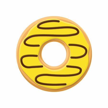 topping: Sweet yellow donut isolated on white background. Yummy cookie donut food. Candy decoration color donut with topping. Glazed pastry delicious snack, eat candy.