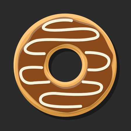 topping: Chocolate sweet brown donut isolated on dark background. Yummy cookie donut food. Candy decoration color donut with topping. Glazed pastry delicious snack, eat candy. Stock Photo