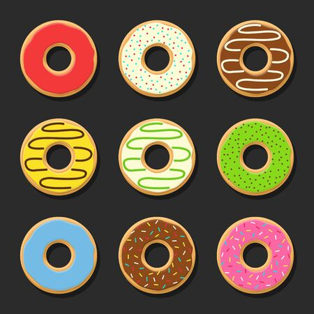 food to eat: Set sweet colorful vector donuts isolated on dark background. Chocolate yummy cookie donuts food. Candy decoration color donuts collection. Glazed pastry delicious snack, eat candy.