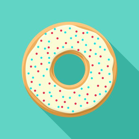 topping: Sweet donut isolated on blue background. Yummy cookie vector donut food. Candy decoration color donut with topping. Glazed pastry delicious snack, eat candy.