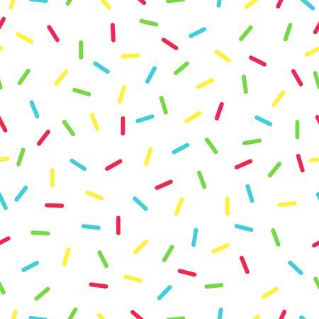 Seamless background with white donut glaze. Decorative bright sprinkles texture pattern design