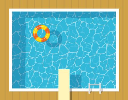 springboard: Swimming pool top view with inflatable ring and springboard jump. Blue water leisure relaxation holiday travel. Resort swimming vector pool luxury lifestyle tropical outdoor.