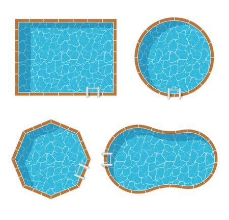 Zwembaden bovenaanzicht set geïsoleerd op een witte achtergrond. Blauw water vakantiereizen ontspanning vakantie. Resort swimming pool vector icon luxe lifestyle tropische outdoor.