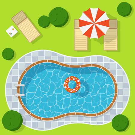 Swimming pool on a green meadow with umbrella and chaise lounge. Blue water leisure relaxation holiday travel. Resort swimming vector pool luxury lifestyle tropical outdoor. Illustration