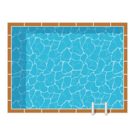 Swimming pool top view set isolated on white background. Blue water leisure pool relaxation holiday travel. Resort swimming vector pool icon luxury lifestyle tropical outdoor.