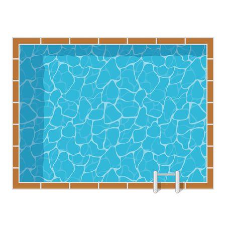 Zwembad bovenaanzicht set geïsoleerd op een witte achtergrond. Blauw water vakantiereizen ontspanning pool vakantie. Resort swimming pool vector icon luxe lifestyle tropische outdoor. Stock Illustratie