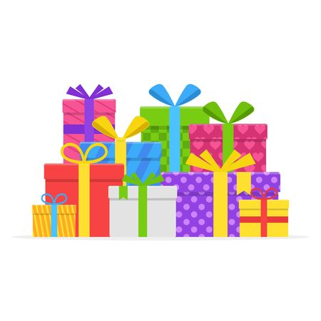 Pile colorful gift or present boxes with ribbon and bow set isolated on white background. Gift box for Christmas or a birthday party in a flat style. Heap wrapped gifts in colorful packaging