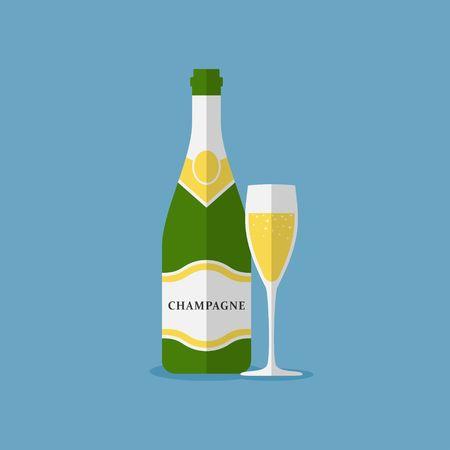 Champagne fles en glas champagne op een witte achtergrond. Alcohol viering wijn champagne fles. Vakantie goud glas Nieuwjaar partij drank champagne romantische drank fles. Stock Illustratie