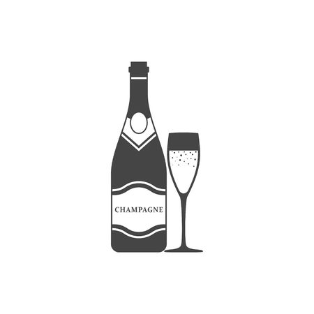 Champagne bottle and champagne glass icon isolated on white background. Alcohol celebration wine champagne bottle. Holiday gold glass new year party beverage champagne romantic drink bottle.