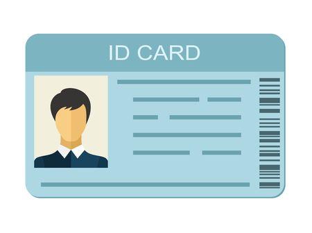 Carta di identità isolata su priorità bassa bianca. Icona della carta di identificazione. Denominazione del modello di icona della carta d'identità aziendale. Identificazione contatto personale in stile piatto