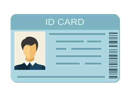 ID Card isolated on white background. Identification card icon. Business identity ID card icon template badge. Identification personal contact in flat style Çizim
