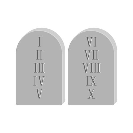 commandments: Two stone with the ten commandments isolated on white background in flat style.