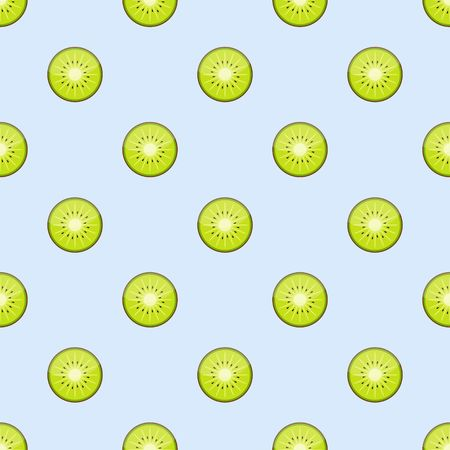 kiwi fruit: Kiwi fruit , kiwi slices seamless pattern on blue background.