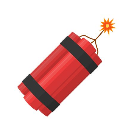 Dynamite bomb explosion with burning wick detonate isolated on white background.  dynamite bomb with sparkle danger explosive weapon in flat style. Aggression terrorism.