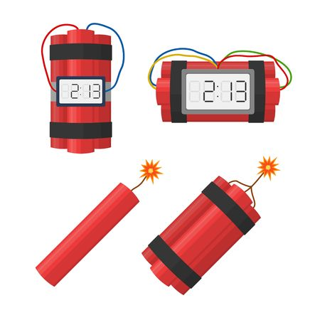 Set dynamite bombs explosion with timer detonate and wire, dynamite with burning wick isolated on white background. dynamite bomb danger explosive weapon in flat style. Aggression terrorism.