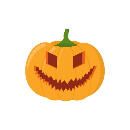 Halloween pumpkin head isolated on white background. Pumpkin head icon in flat style. Scary Halloween cartoon pumpkin.