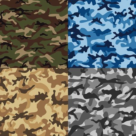 color conceal: Camouflage set seamless pattern in multiple colors.