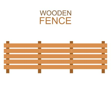 Wooden fence isolated on white background. Farm fence vector illustration. Boards fence wood silhouette construction in flat style Illustration