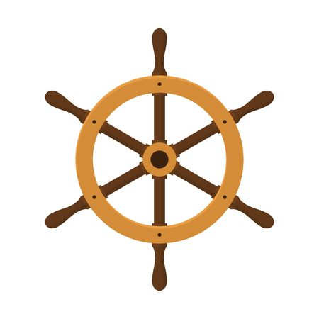 ship steering wheel: Ship helm isolated on white background. Yacht steering wheel in flat style Illustration