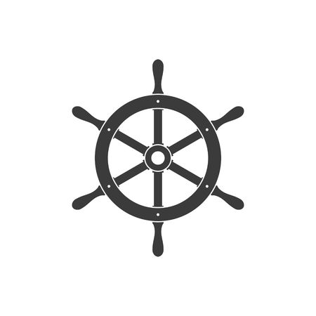 Ship helm icon isolated on white background. Yacht steering wheel