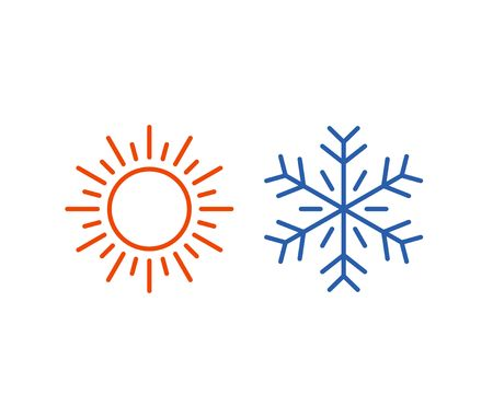 cold fusion: Hot and cold icons isolated on white background. Sun and snowflake symbol illustration