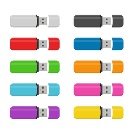 Set colored Flash drive USB memory sticks isolated on white background in flat style.