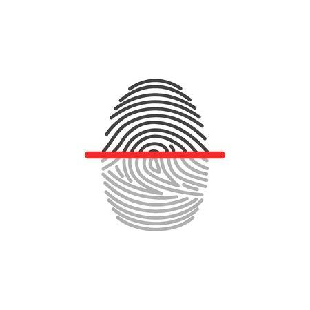Elektronische die de scanneridentificatie van het vingerafdrukpictogram op witte achtergrond wordt geïsoleerd. Beveiliging en bewakingssysteem