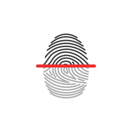 Electronic fingerprint icon scanner identification isolated on white background. Security and surveillance system Vectores