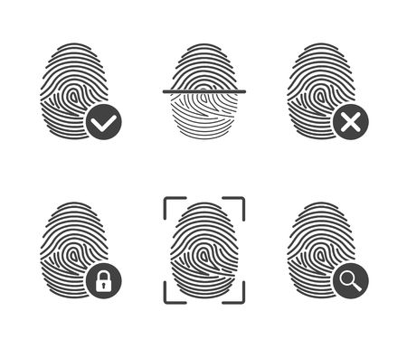 safeness: Set fingerprint icons isolated on white background. Authorization and identification symbol. Security and surveillance system
