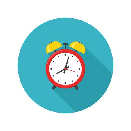Alarm clock red icon with shadow isolated on white background in flat style. Vector illustration Illusztráció