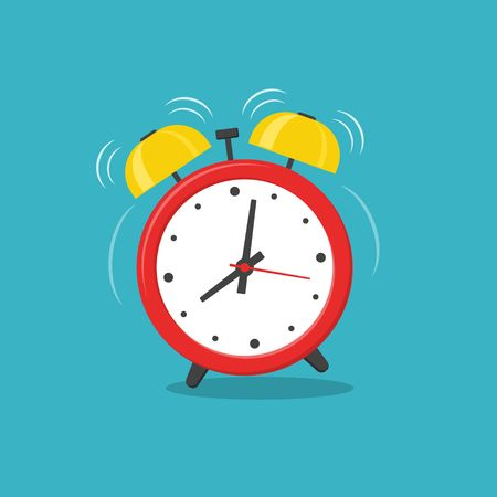 Alarm clock red wake-up time isolated on background in flat style. Vector illustration Иллюстрация