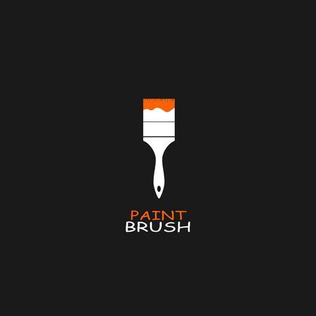 paint tool: Brush paint tool icon isolated on black background. Vector illustration
