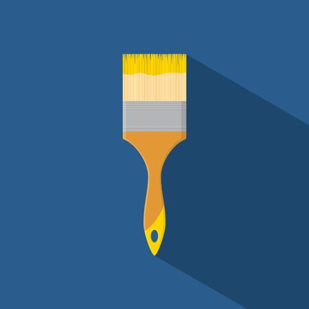 paint tool: Brush paint tool icon isolated on blue background with shadow in flat style. Vector illustration