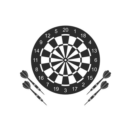 Classic dart board target and darts arrow icons isolated on white background.