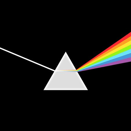 Triangular Prism breaks white light ray into rainbow spectral colors. Dispersive prism, physics Illustration