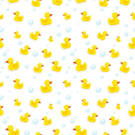 Rubber duck and bubbles seamless pattern bath toy on white background. Vector illustration Ilustrace