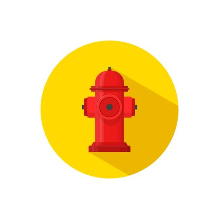 Hydrant firefighter extinguish the fire icon in flat style isolated on yellow background. Vector Illustration
