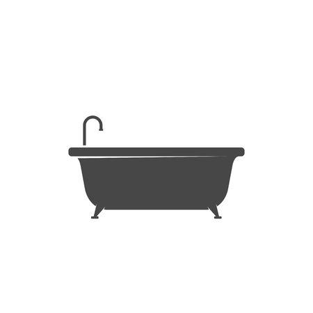 Bathtub icon isolated on white background. Bath time vector illustration