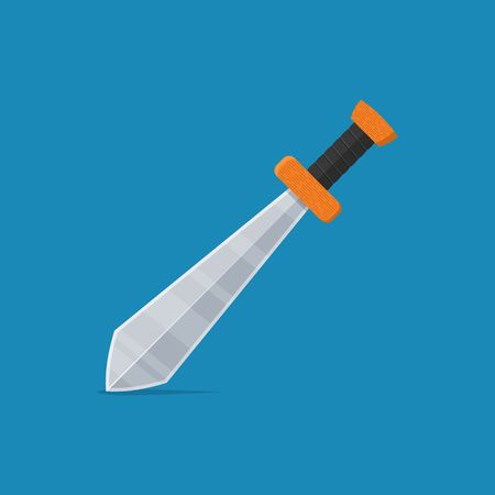 Sword icon in flat style isolated on blue background. Arms vector illustration