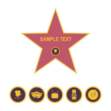 Gang van bekendheidsster en pictogrammen die op witte achtergrond wordt geïsoleerd. Vijf categorie tekens vector illustratie Stock Illustratie