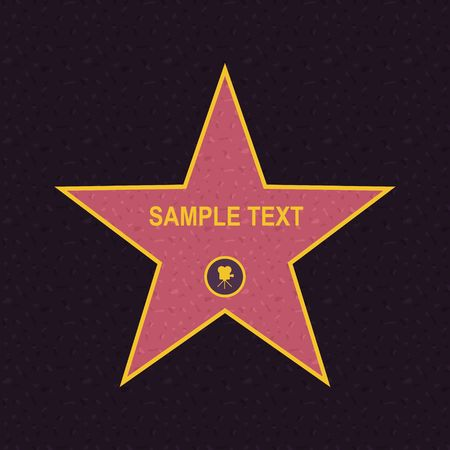 Walk of fame star on the granite floor. vector illustration