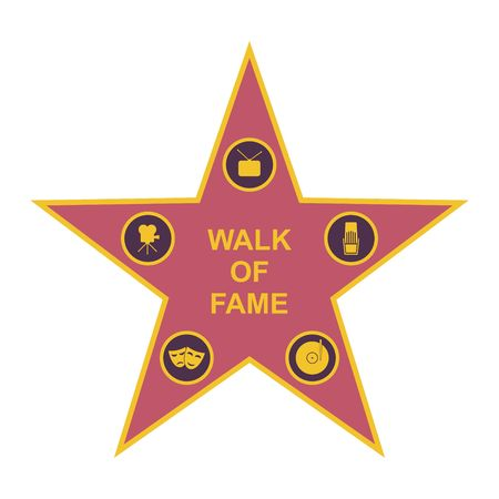 famous actor: Walk of fame star and icons isolated on white background. Five category signs vector illustration