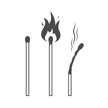Matches icons, lighted match and burned match.