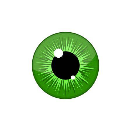 Human green eyeball iris pupil isolated on white background. Eye Vector Illustration