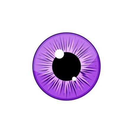 Human violet eyeball iris pupil isolated on white background. Eye Vector Illustration