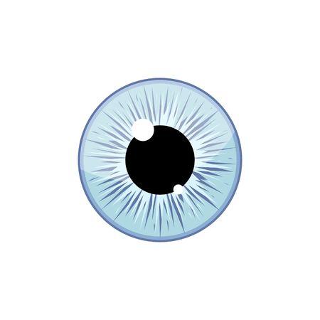 Human light blue eyeball iris pupil isolated on white background. Eye Vector Illustration Illustration