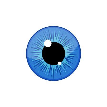 Human blue eyeball iris pupil isolated on white background. Eye Vector Illustration