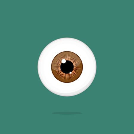retina: Human brown eye isolated on dark green background. Eyeball iris pupil vector Illustration