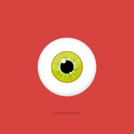 ojo humano: Human yellow - green eye isolated on red background. Eyeball iris pupil vector Illustration Foto de archivo